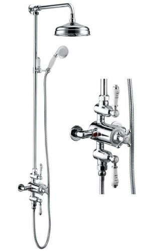 Hynar Traditional Chrome Thermostatic Dual Control Exposed Shower